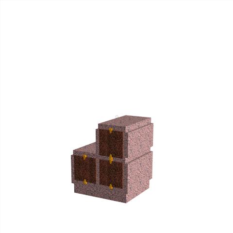 Columbariums - 3 Cases - HARMONIE H03DPG-80 - Rose de la clarté - Sansone Municipalités