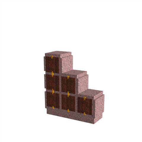 Columbariums - 6 Cases - HARMONIE H06DPG-50 - Rose de la clarté - Sansone Municipalités