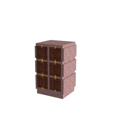 Columbariums - 6 Cases - HARMONIE H06V-80 - Rose de la clarté - Sansone Municipalités