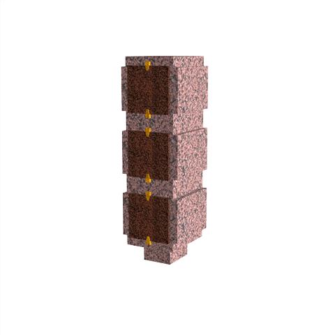 Columbariums - 3 Cases - ARENA A01-50N3 - Rose de la clarté - Sansone Collectivités
