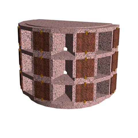 Columbariums - 15 Cases - ARENA A15-50N3-CIR - Rose de la clarté - Sansone Collectivités