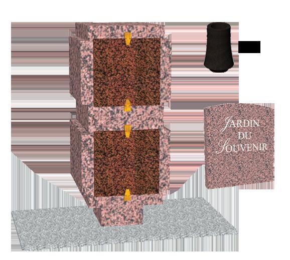Catégorie Columbariums Prêt à pôser - 4 Cases - AVANTAGE - Rose de la clarté - Sansone Collectivités
