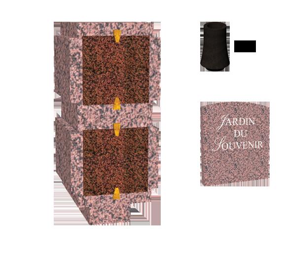 Catégorie Columbariums Prêt à pôser - 2 modules - 4 Cases - DECOUVERTE - Rose de la clarté - Sansone Collectivités