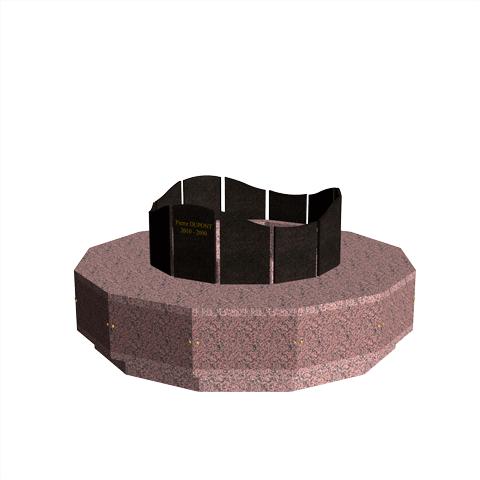 Columbariums - 12 Cases - Dune 1 niveaux- Rose de la clarté/Noir - Sansone Collectivités