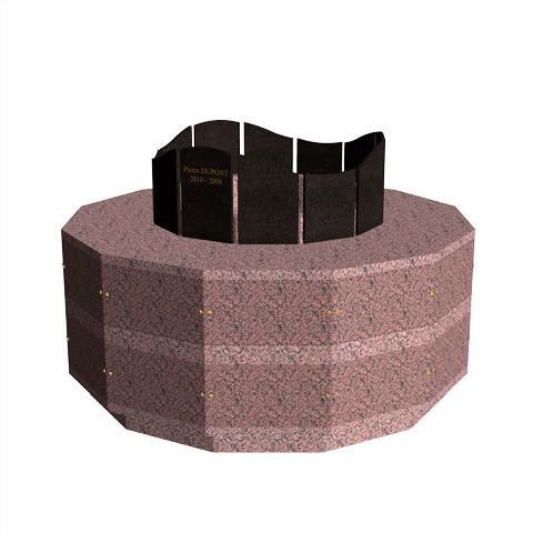 Columbariums - 24 Cases - Dune 2 niveaux- Rose de la clarté/Noir - Sansone Collectivités