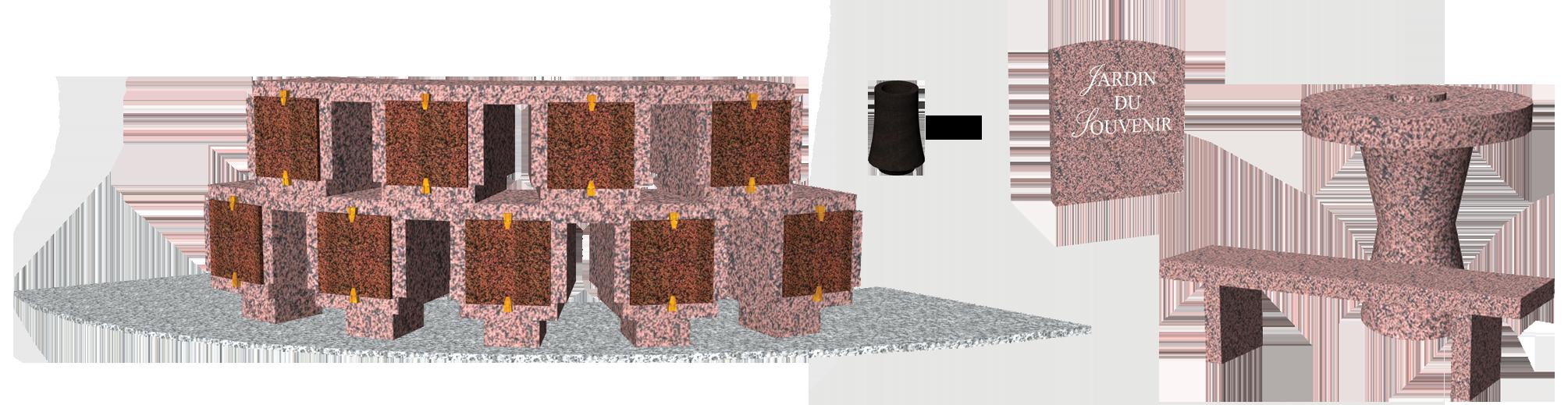 Catégorie Columbariums Prêt à pôser - 9 modules - 18 Cases - ELITE - Rose de la clarté - Sansone Collectivités
