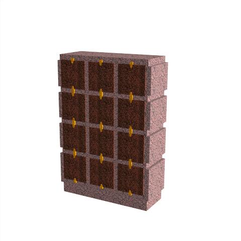 Columbariums - 12 Cases - HARMONIE H12V - Rose de la clarté - Sansone Collectivités