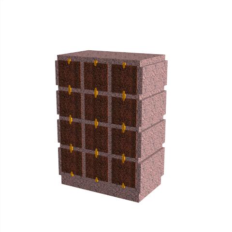 Columbariums - 24 Cases - HARMONIE H12V-80 - Rose de la clarté - Sansone Collectivités