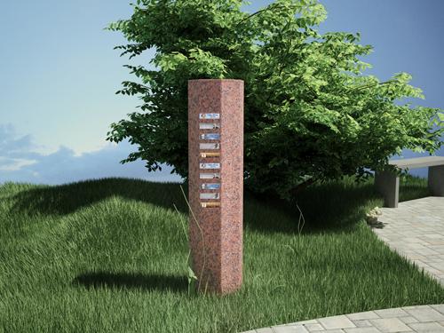 Jardin du souvenir - Colonne avec plaquette cinéraire - Sansone Collectivites